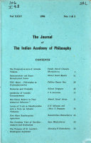 The Journal Of The Indian Academy Of Philosophy