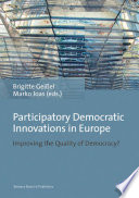 Participatory Democratic Innovations In Europe Book