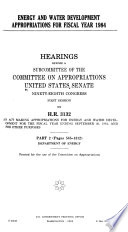 Energy and Water Development Appropriations for Fiscal Year 1984: Department of Energy pt. 3. Nondepartmental witnesses