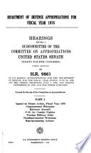 Department of Defense Appropriations for Fiscal Year  1976  Hearings Before      94 1