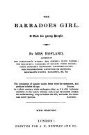 The Barbadoes Girl  a Tale for Young People     New Edition