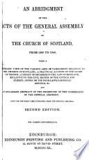 An Abridgement of the Acts of the General Assembly of the Church of Scotland from 1560 to 1840