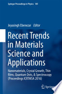 Recent Trends In Materials Science And Applications Book PDF