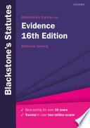 Blackstone s Statutes on Evidence
