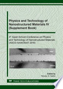 Physics and Technology of Nanostructured Materials IV  Supplement Book  Book