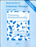 Instructor's Solutions Manual [for] Thinking Mathematically, Fifth Edition [by] Robert Blitzer
