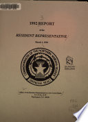Report of the Resident Representative to the People of the Northern Marianas, the Governor, and Legislature