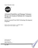 Advanced Durability and Damage Tolerance Design and Analysis Methods for Composite Structures  Lessons Learned from NASA Technology Development Programs