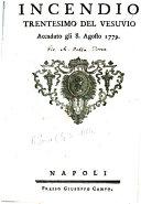 Incendio trentesimo del Vesuvio accaduto gli 8  Agosto 1779   Edited by D  Campo