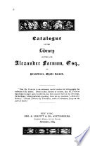 Catalogue of the Library of the Late Alexander Farnum of Providence, Rhode Island
