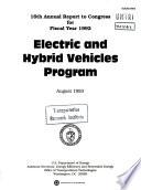 Electric And Hybrid Vehicles Program Annual Report To Congress Sixteenth Fiscal Year 1992 Book PDF