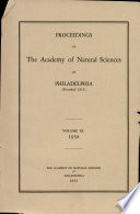 Proceedings of The Academy of Natural Sciences  Vol  XC  1938