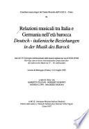 Deutsch-italienische Beziehungen in Der Musik Des Barock