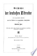 Geschichte der deutschen Literatur: Bd. Von den ältesten Zeiten bis zum ersten Viertel des 16. Jahrhunderts