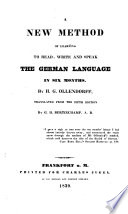 A New Method Of Learning To Read Write And Speak The German Language In Six Months Tr By G H Sic Bertinchamp