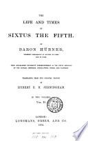 The life and times of Sixtus the fifth  tr  by H E H  Jerningham