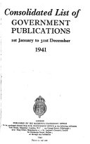 Consolidated List Of Government Publications