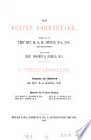 The pulpit commentary  ed  by H D M  Spence and J S  Exell  nT Book