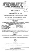 Agriculture  Rural Development  Food and Drug Administration  and Related Agencies Appropriations for 1998  Testimony of members of Congress and other interested individuals and organizations