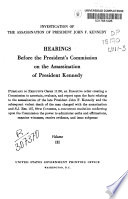 Hearings Before the President s Commission on the Assassination of President Kennedy Book