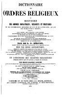 Encyclopédie théologique: Dictionnaire des ordres religieux