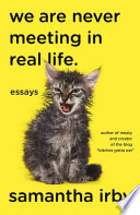 link to We are never meeting in real life : essays in the TCC library catalog