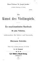 Die Kunst des Violinspiels