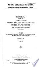 National Energy Policy Act of 1989 (energy efficiency and renewable energy)