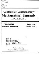 Contents Of Contemporary Mathematical Journals