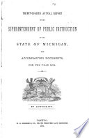 Annual Report Of The Superintendent Of Public Instruction Of The State Of Michigan