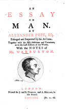 An Essay on Man     Enlarged and improved by the author  With notes by William Warburton  With a portrait