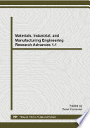 Materials  Industrial  and Manufacturing Engineering Research Advances 1 1 Book
