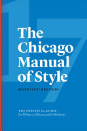 Cover of The Chicago Manual of Style, 17th Edition