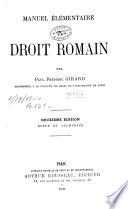 Manuel élémentaire de droit romain