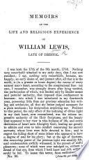 Memoirs Of The Life And Religious Experience Of William Lewis Late Of Bristol
