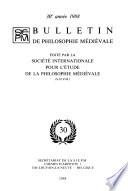 Bulletin de philosophie médiévale