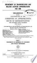 Department of Transportation and Related Agencies Appropriations for 1998: Testimony of members of Congress and public witnesses