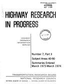 Highway Research in Progress