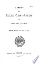 Report of the Record Commissioners of the City of Boston Book