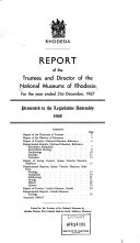 Report of the Trustees and Directors of the National Museums of Southern Rhodesia