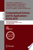 Computational Science and Its Applications – ICCSA 2019