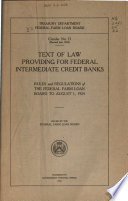 Text of Law Providing for Federal Intermediate Credit Banks