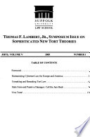 Sophisticated new tort theories, 2005