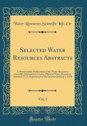 Selected Water Resources Abstracts  Vol  3