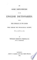 On Some Deficiencies in Our English Dictionaries