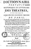 Dictionnaire Portatif Historique et litteraire des Theatres