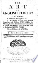 The Art Of English Poetry Containing I Rules For Making Verses Ii A Collection Of The Most Sublime Thoughts In The Best English Poets Iii A Dictionary Of Rhymes 3 Ed PDF