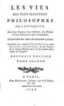 Les vies des plus illustres philosophes de l'antiquité