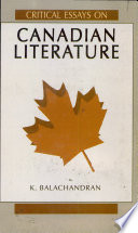 Critical Essays on Canadian Literature Book