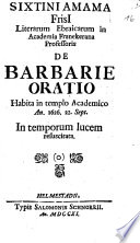 De barbarie oratio
